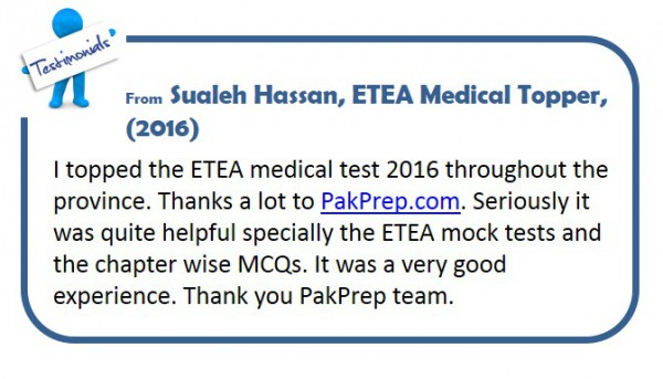Sualeh Hassan, ETEA Medical Topper, (2016)
