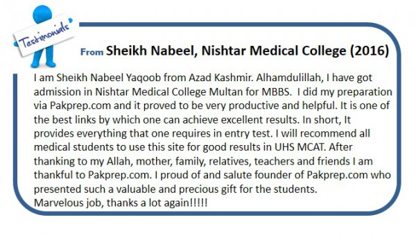 Sheikh Nabeel, Nishtar Medical College (2016)